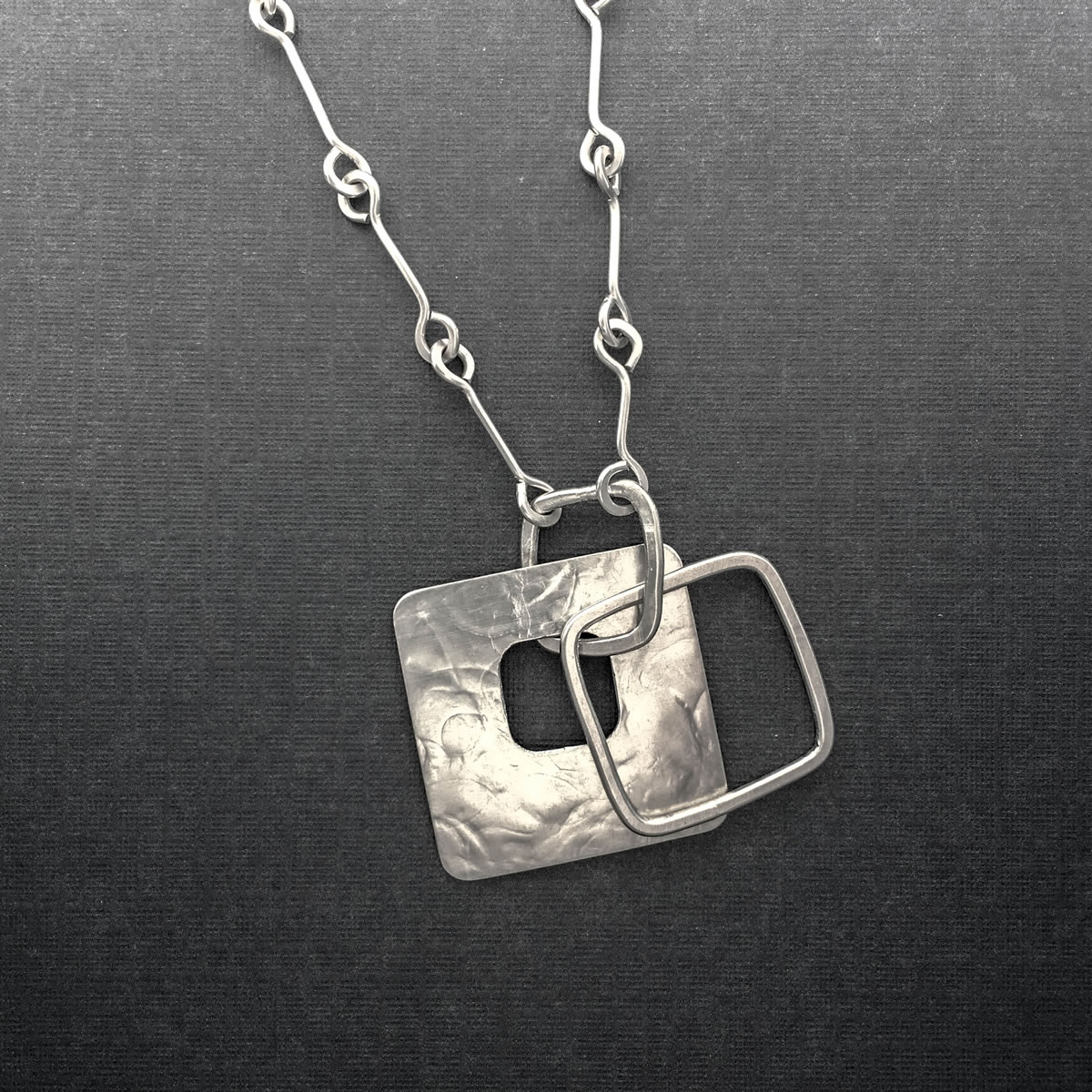 large silver square pendant necklace p loop silver chain