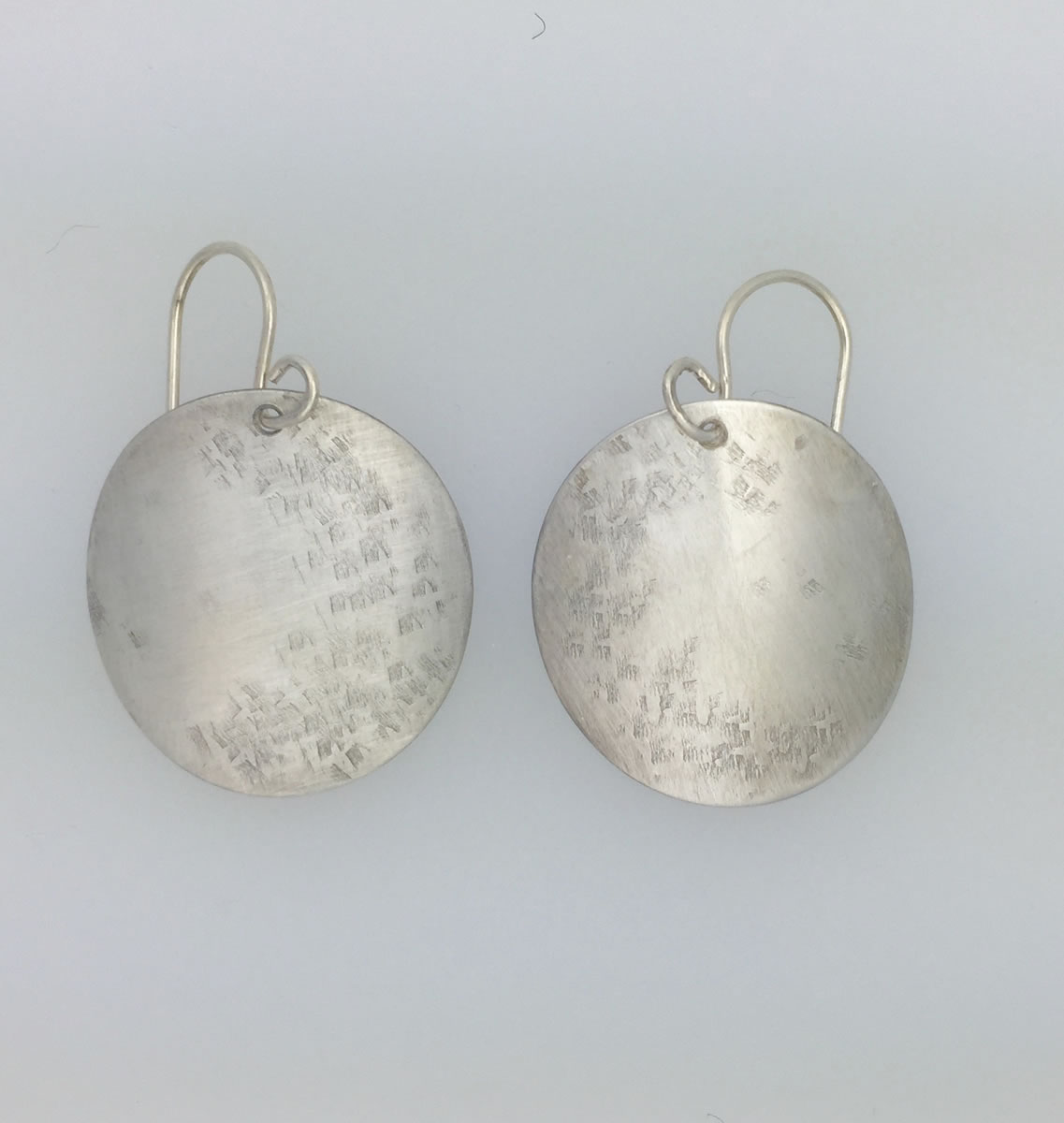0012 Silver Handmade Earrings One Inch Curves Raw Silk Kathleen Barris Jewelry