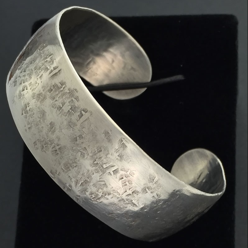 0016 - Silver handmade cuff bracelet wide raw silk pattern hammered Kathleen Barris Jewelry