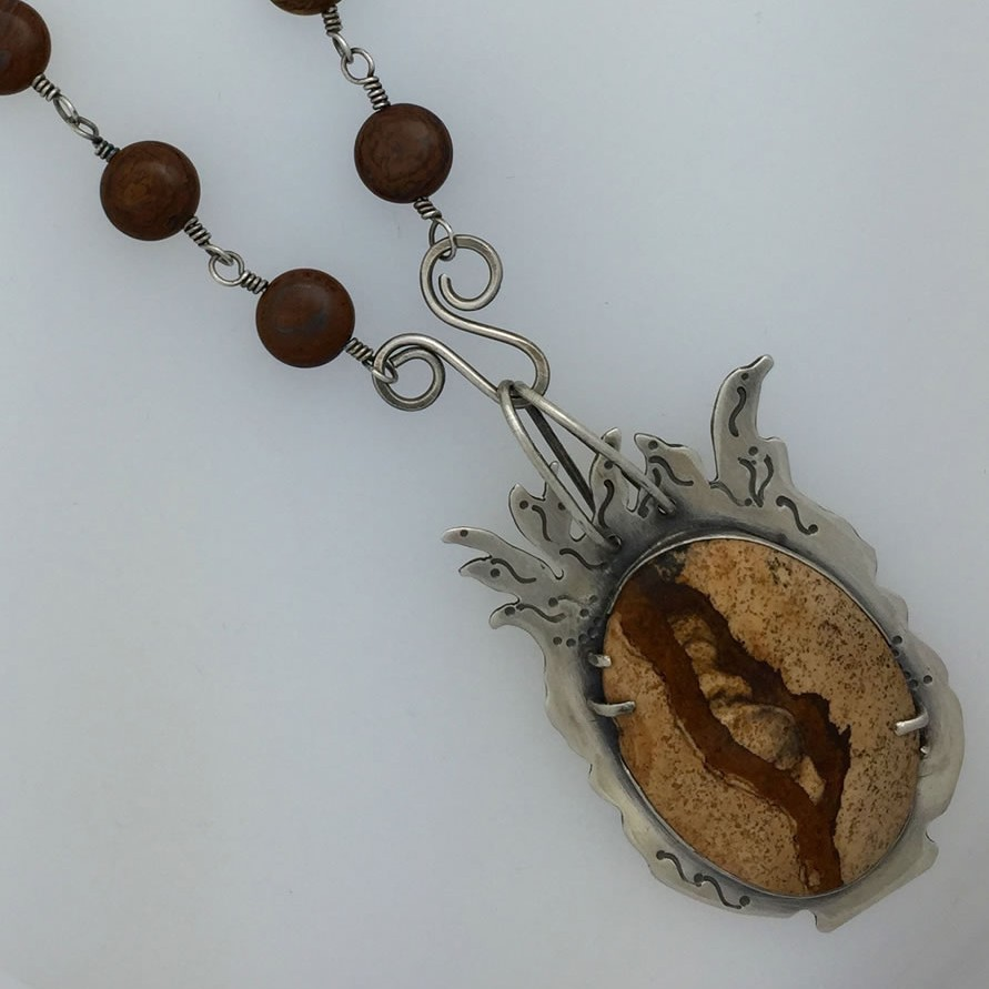 0017 - Silver handmade pendant picture jasper tiger patina forged Kathleen Barris Jewelry