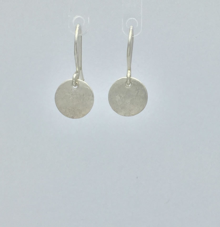 0022 - Silver handmade earrings small simple understeted serenity Kathleen Barris Jewelry