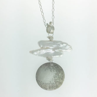 0027 - Silver handmade pendant stick pearls disc hammered serenity Kathleen Barris Jewelry