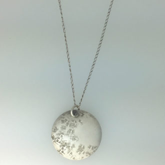 0028 - Silver handmade pendant serenity disc hammered Kathleen Barris Jewelry