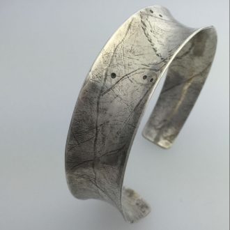 0044 - Silver handmade cuff bracelet hammered anticlastic asymetrical formed Kathleen Barris Jewelry