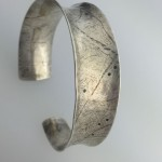 0045 - Silver handmade cuff bracelet hammered anticlastic asymetrical formed Kathleen Barris Jewelry