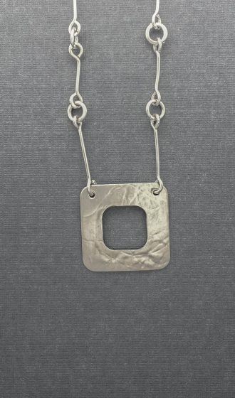 1627 - Silver handmade chain savannah square rollprinted necklace Kathleen Barris Jewelry