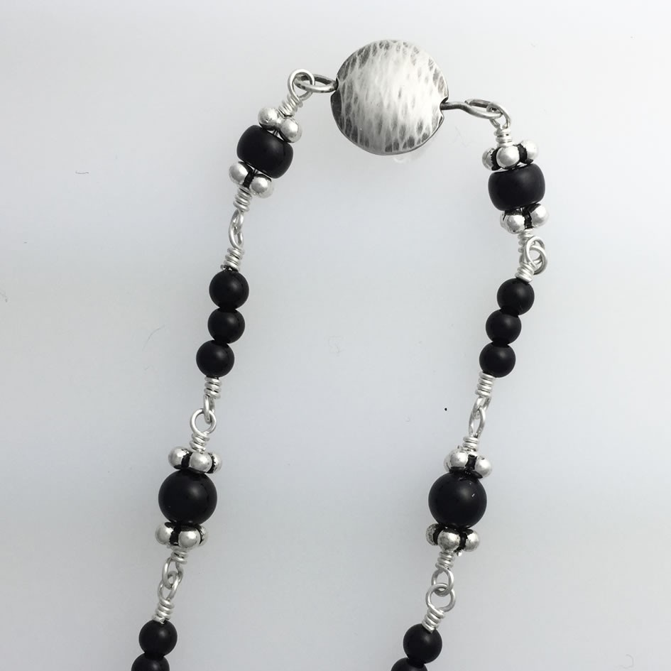 CA0042 - Silver handmade bracelet extra small wrapped onyx metal bead double domed Kathleen Barris Jewelry.