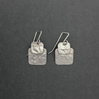 SS0002 - Silver handmade earrings medium textured savannah squares brushed Kathleen Barris Jewelry