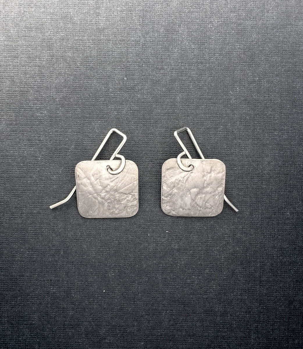 SS0003 - Silver handmade earrings under $50 textured squares brished Kathleen Barris Jewelry