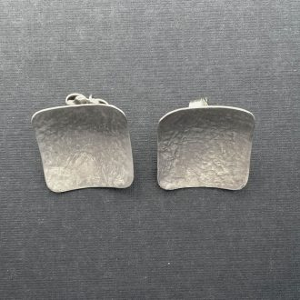 SS0006 - Silver handmade earrings sophisticated concave square posts textured brush Kathleen Barris Jewelry