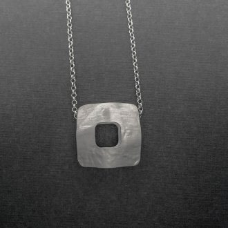 SS0013 - Silver handmade pendant chain squares Kathleen Barris Jewelry