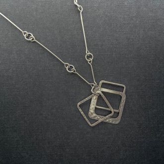 SS0018 - Silver handmade pendant chain multiple open squares lightweigth Kathleen Barris Jewelry