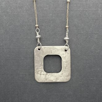 SS0048 - Silver handmade pendant open square delicate goldfilled chain Kathleen Barris Jewelry