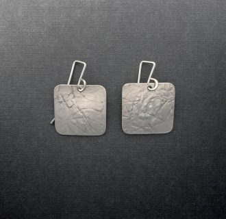 SS0001 - Silver handmade earrings large textured savannah squares brushed Kathleen Barris Jewelry