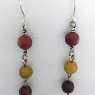 handmade earrings triple dangle mookaite hand wrapped with sterling silver