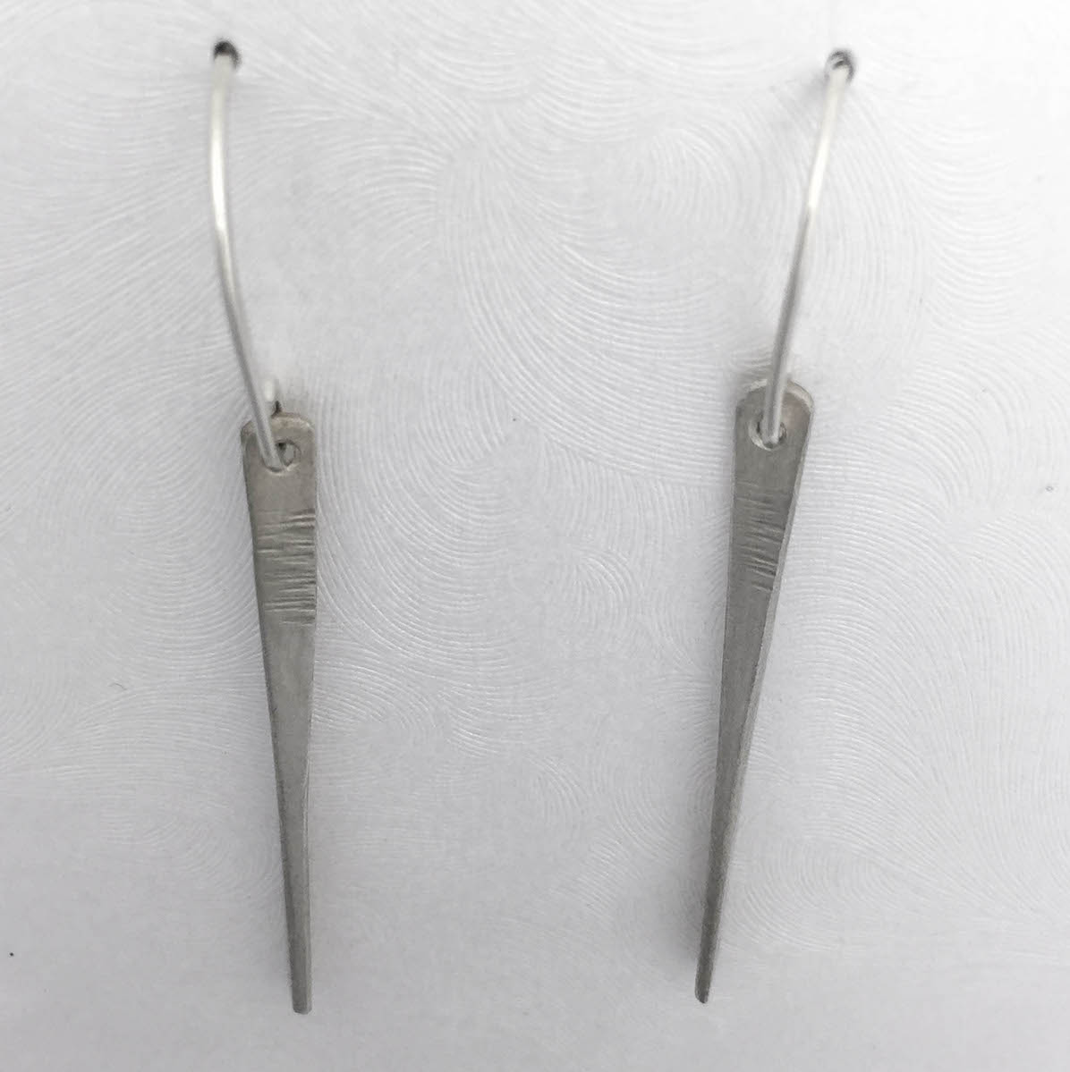 handmade earrings argentium silver 1 and 1/2 inch paddles forged with hammer