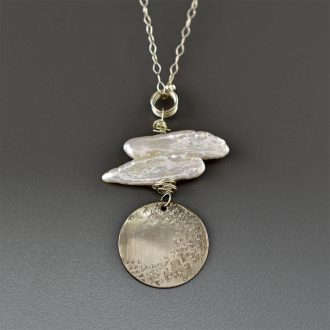 1547 Silver Pearl Disc Pendant Kathleen Barris Jewelry