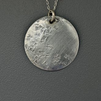 1549 DSC0002 silver hammered disc brushed finish sterling silver chain kathleen barris jewelry